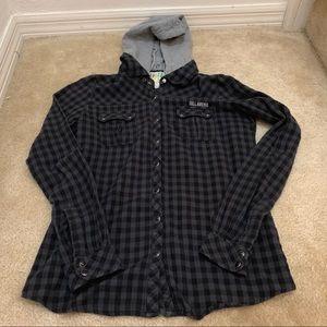 Billabong Button Up Flannel w/detachable hood